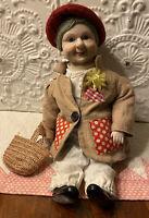 "Vintage 1980's Grandma Hobo Clown Dynasty Doll  Carnival Creepy 17"" Porcelain"