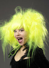 Womens Neon Yellow Backcombed Zombie Wig