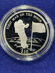 2000 Proof .999 Silver Republic Liberia $10 1st Man on the Moon ..273ASW