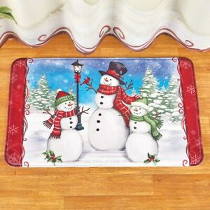 Frosty The Snowman & Family Christmas Bath Mat with Non-Slip Rubber Back