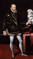 No framed Oil painting male portrait Philip II King of Spain standing canvas