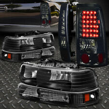 BLACK AMBER HEADLIGHT+CHROME SMOKE LENS LED TAIL LIGHT FOR 99-02 CHEVY SILVERADO