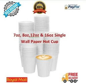 1-2000 Disposable Paper Coffee Cups Tea White Hot/Cold Drinks 7/8/12/16oz Bulk