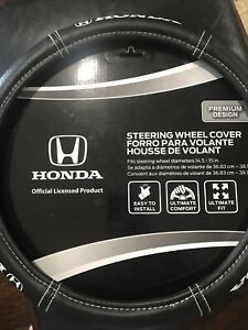 Official Licensed Cushioned Honda Premium Steering Wheel Cover Logo Leather NEW