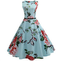 Womens O-neck Summer Floral Rockabilly Pinup 50s Party Skater Housewife Dress