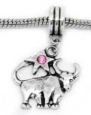 Zodiac Taurus Bull Pink Rhinestone Dangle Bead for European Style Charm Bracelet