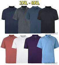 New Mens Big Size Pique Polo Summer T-shirt Casual Work Top 2 3 4 5 6 7 8 XL