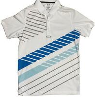 OAKLEY Men's Regular Fit Short Sleeve Polo Golf Shirt Striped White Blue Sz S