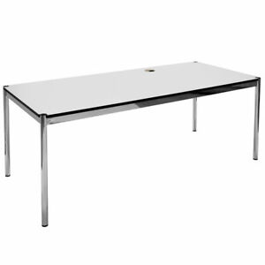 USM Haller Schreibtisch Bürotisch 175x75 inkl. Kabelauslass - Perlgrau (B5)