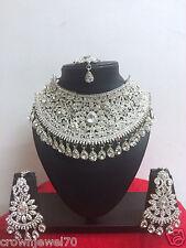New Indian Bollywood Designer Rhodium Plated Fashion Bridal Jewelry Necklace Set
