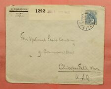 1916 NETHERLANDS DELFT TO USA WWI CENSORED