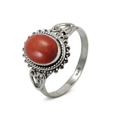 Handmade Solid 925 Sterling Silver & Red Coral Crystal Gemstone Ring 925124