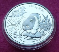 1997 CHINA SILVER PANDA  1/2 oz 5 YUAN  BU COIN