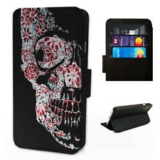 Flower Infusion Skull - Flip Phone Case Wallet Cover - Fits Iphone 6 7 8 X 11