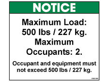 37052 DECAL, NOTICE, MAX LOAD 500 LBS