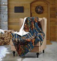 "Throw Blanket NAVY BLUE CAMO WOODS Camouflage Sherpa Ultra Plush Soft 50"" x 70"""