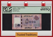 TT PK 91a 2012 LEBANON BANQUE DU LIBAN 5000 LIVRES PCGS 69 PPQ SUPERB GEM NEW