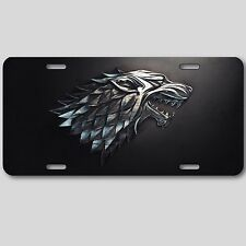 House of Stark License Plate  Game of Thrones Direwolf fantasy art Aluminum Cool