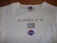 HARLEY DAVIDSON official Women's USA glam sequin t-shirt Large Rhode Island