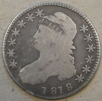 1818 Capped Bust Half Dollar 50c G-VG As Pictured