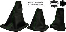 GREEN STITCH FOR LANDROVER DISCOVERY MK1 MK2  96-2004 3 x LEATHER GAITERS SET