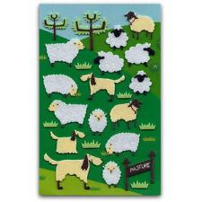 CUTE SHEEP & DOG FELT STICKERS Sheet Farm Animal NEW Kid Craft Scrapbook Sticker