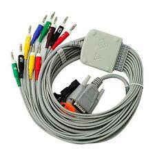 Nihon Kohden 10-Lead Shielded EKG ECG Cable Banana 4.0 15 pins connector,K113B