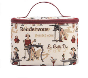 Signare Kosmetik Etui Rendezvous Paris Cafe Bar Kulturbeutel Nessesair Gobelin