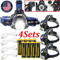 350000Lumen T6 LED Zoomable Headlamp USB Rechargeable Headlight Haed Torch Lamp