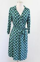 Seraphine Maternity Green Geometric Print Knit 3/4 Sleeve Wrap Tie Dress Size 10