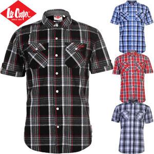 Mens Cotton Shirt Lee Cooper Check Short Sleeve, White Red Size S M L XL 2XL 3XL
