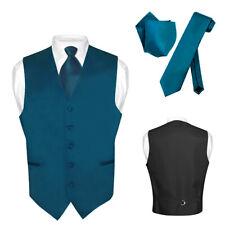 Men's Dress Vest NeckTie Hanky BLUE SAPPHIRE Color Neck Tie Set for Suit Tuxedo