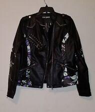 NWT Steve Madden Women's Floral Studded faux leather Biker/Moto Jacket Blk sz M