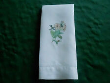 Vintage Linen Towel, White With Printed Humming Birds And Flowers, Circa 1920