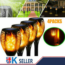 More details for 4x solar powered led tiki torch garden flame flickering light waterproof lamp uk