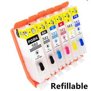 Refillable Ink Cartridge PGI580 PGI-580 CLI-581 For Canon PIXMA TR7550 TR8550 TS