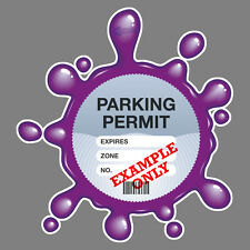 PARKING PERMIT Holder PURPLE SPLAT self-cling window graphic, decor – Freepost