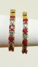 Ruby and Diamond Hoop Earrings ~ 14k Yellow Gold over .925 Sterling Silver ~ :