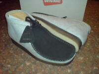 Clarks Originals Mens ** WALLABEES  BOOTS ** GREY / BLACK ** UK 7,7.5,8.5,10,11