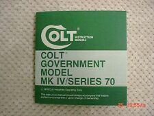Colt Government Model MK IV/Series 70 1978 Manual