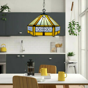 TIFFANY STYLE PENDANT YELLOW HEXAGON ANTIQUE LAMP STAINED GLASS SHADE BULB E27