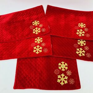 5 St. Nicholas Square Red Quilted Velour Gold Snowflake Christmas Placemats EUC