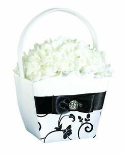 "Lillian Rose Wedding Bride 7.5"" Black and White Flower Basket FB732 B"