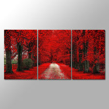 No Frame  3 Panels Red Forest Wall  Art  Canvas Prints  for Home Decro