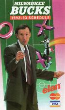 MILWAUKEE BUCKS 1992-1993 Pocket Schedule, Coach Mike Dunleavy - Visa-Mastercard