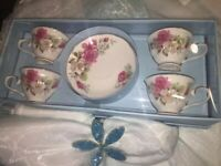 Grace's Teaware Espresso Mini Tea Cup & Saucer Pink Roses Set 8 pc Demitasse NEW