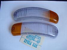 FIAT 850 SPIDER FANALINI ANTERIORI COPPIA LENTI CARELLO FRONT LIGHT LENSES NOS.