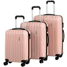 3Pcs Travel Luggage Set Bag ABS Trolley Spinner Suitcase W/Lock 20-28Inch Pink