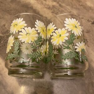 2 Vintage Small Culver Daisy Drinking Tumber Glasses