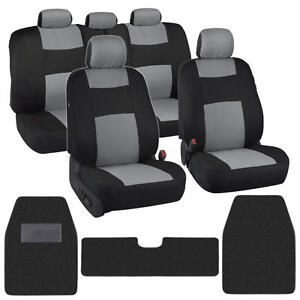 Polyester Cloth Seat Covers for Car + Front & Rear Carpet Floor Mats Black/Gray
